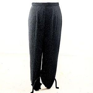 Vintage 80s 14 Silk Beaded Wide Leg Pants Black
